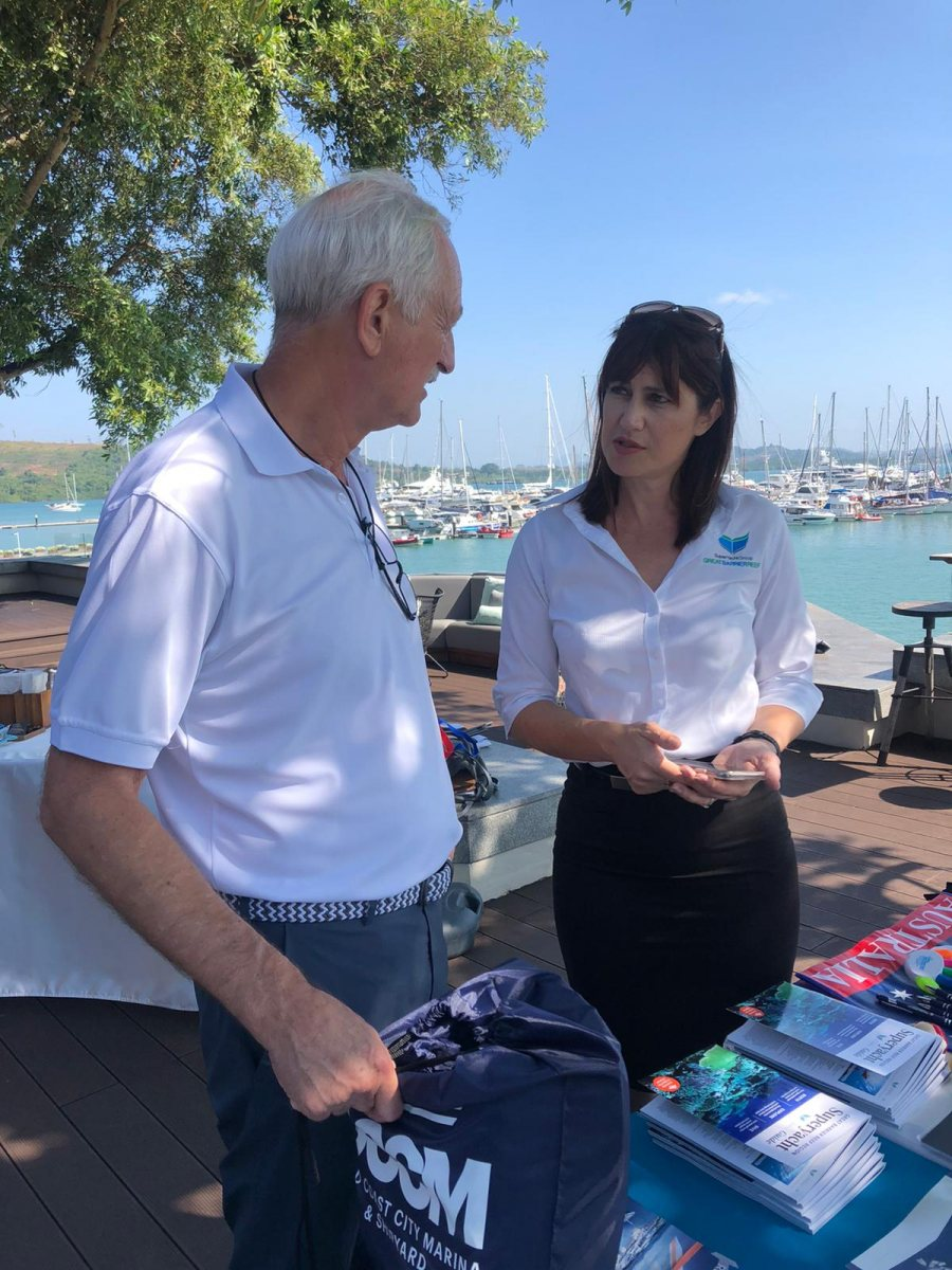 Joanne-Drake-discussing-GBR-region-with-Captain-of-MY-Diamonds-are-Forever